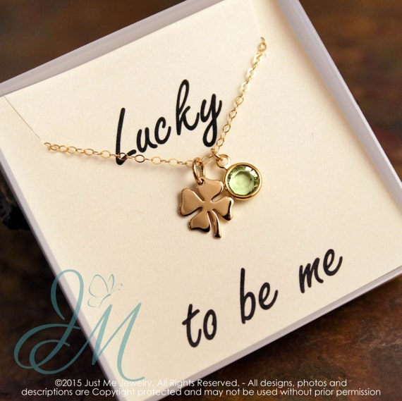 Four Leaf Clover Necklace - Lucky to be me - Affirmation Necklace with Birthstone - Lucky Charm (Gold)