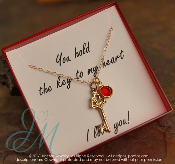 Anniversary Necklace - You hold the key to my heart necklace - Gold Filled necklace with birthstone