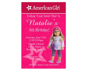 American Girl Doll Birthday Invitation - Digital or Printed