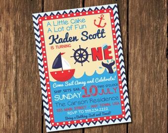 Nautical Birthday Invitation, Sailboat Invitation, Red White and Blue Invitation, First Birthday Invitation