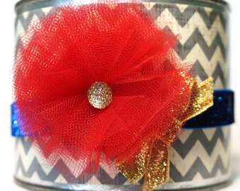 Snow White Headband - Wonder Woman Headband -  Red, Blue, and Gold Headband - Newborn, Baby, Infant, Toddler, Child, Adult