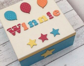 Large Wooden Baby Keepsake Box - memory box Baby Gift Christening Baptism - Balloon Design