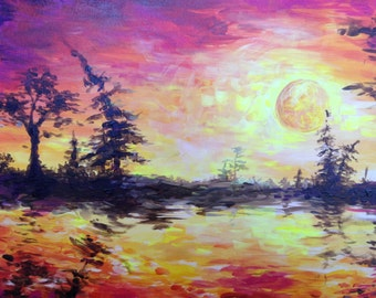 Impressionistic Sunset Painting
