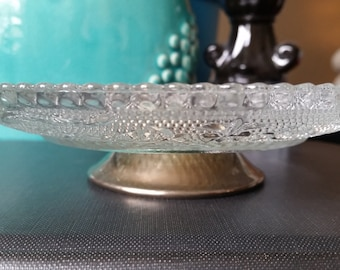Vintage Mid-century Glass Dish with Fleur de Lis and Stars