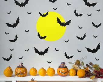 Halloween Decal, Bats with Moon Wall Decal, Bat Decal, Halloween Wall Decal, Bat Wall Decal, Halloween Bats Decal
