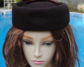 Vintage Brand Fur Felt Hat, Satin Ribbon Bow, Pillbox Hat, Brown
