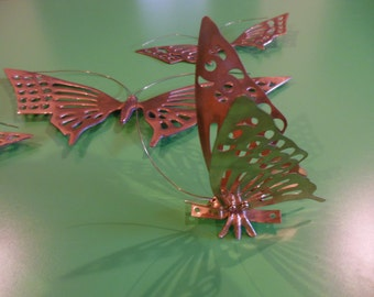 Vintage Brass Butterflies, Solid Brass Made in Korea; Butterfly Wall Décor