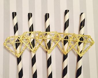 10 Diamond Straw, Bachelorette straw, Birthday straw, Bachelorette decor,Paper Straw,Party Straw,shower decor,Birthday decor, Stagette decor