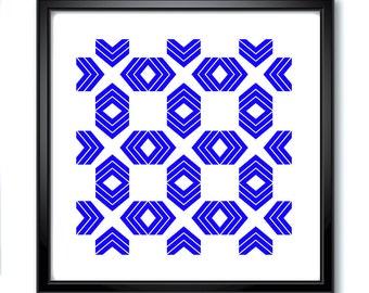 Digital Prints, Geometric Prints, Modern Blue Pattern, Wall Art, Digital Art, Graphic Art, Graphic Designs, Minimal Art, Downloadable Art