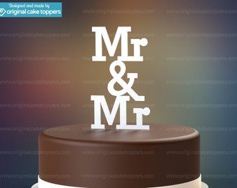 "Gay Wedding Cake Topper - ""Mr & Mr"" - WHITE - OriginalCakeToppers"