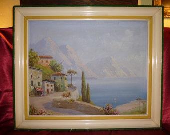 Original OIL PAINTING of Italian Riviera signed SANDINI Mediterranean Landscape