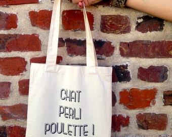 "Tote bag ""Cat perli poulette"""