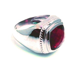Genuine Natural Precious Ruby Gemstone with 925 Sterling Silver Men's Ring