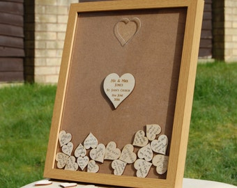 Personalised Wedding Drop Box - Guest Book Alternative - Light Wood Effect Frame with Plywood Hearts - Laser Cut & Engraved