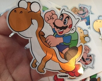 Mario x Adventure Time Brushed Alloy Die Cut Sticker