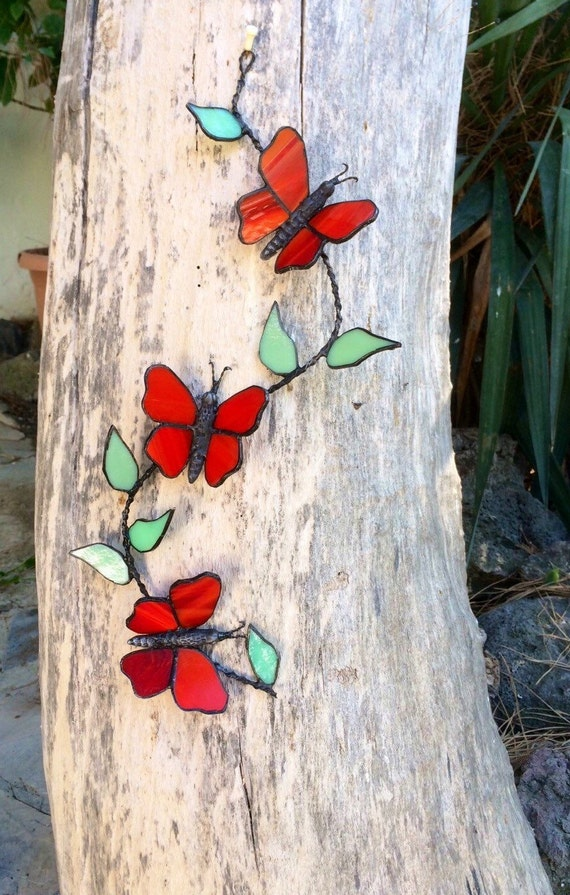 Wall art glass butterflies : Stained glass butterfly home decor wall