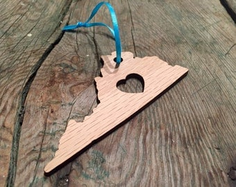 Wooden State Ornament