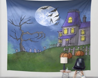 Halloween wall tapestry / halloween wall decal / tapestry wall art Halloween / Halloween tapestries / Halloween photocall
