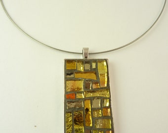 yellow mosaic necklace