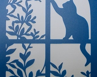 Cat Window Stencil