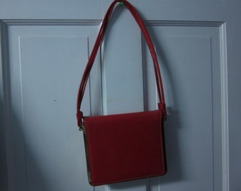 Vintage Markay Saga Red Patent Leather Handbag or Purse, original MCM bag from the 50's