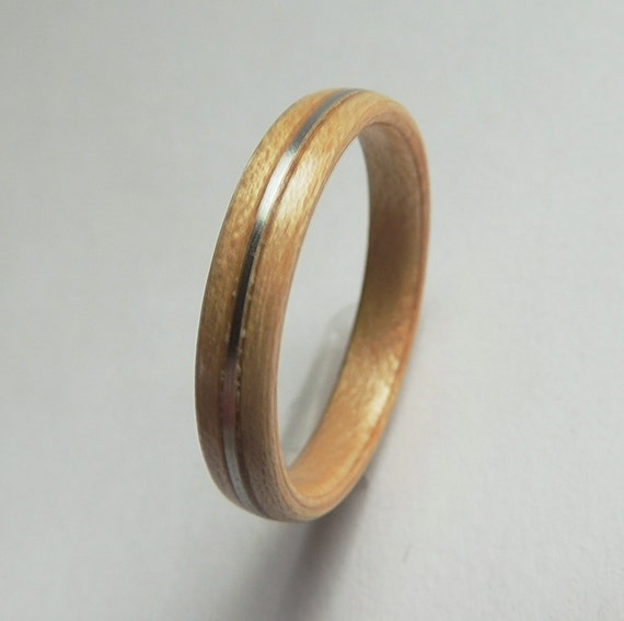 bentwood ring maple and silver wood ring non metal wooden