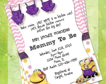 Minion Baby Shower Invitations Pink And Purple, Customize Instant Download