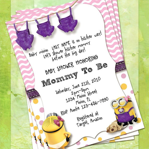 minion baby shower invitations pink and purple customize instant
