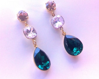 Long Golden Earrings decorated with Swarovski Elements
