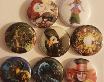 Alice through the looking glass pin button set 1""