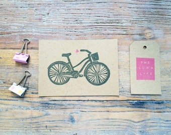 Beach Cruiser Bicycle & Heart Hand Printed Notecards - Pack of 6 on Recycled Card
