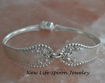 "Sterling  Silver Spoon Bracelet  by Gorham ""Lancaster"" Vintage Handmade  Mother's Day Gift Bracelet Silverware Jewelry Fork Bracelet-- 376"