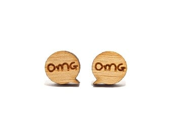 OMG Speech Bubble Bamboo Stud Earrings, OMG Earrings, OMG Studs, Speech Earrings, Gift for Teenager, Post Earrings, Birthday Gift for Her