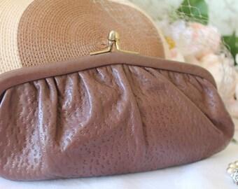 Vintage, 1950's, Brown Leather Clutch Bag/Purse/Leather Handbag/Pocket Book/ SALE(1923Z)