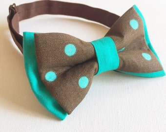 "The ""Billie"" baby boys bow tie - brown with teal polka dot"