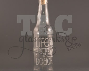 Etched Beach bottle novelty gift - personalize with trip dates great destination wedding gift