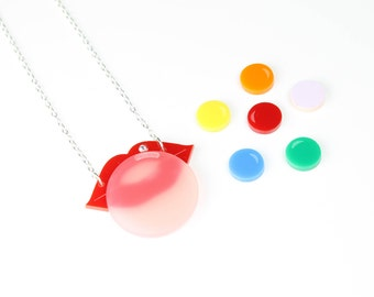 lips necklace  - laser cut acrylic necklace with swarovski rhinestone - plexiglass necklace