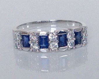 Sapphire Diamond Band,18k Diamond Ring,Sapphire Wedding Band,Anniversary Band,