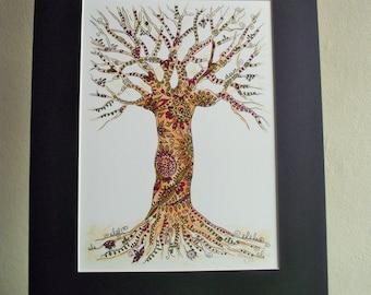 Tree picture,tree illustration,tree painting,original tree art,original art,colourful tree,zentangle inspired tree,patterned tree,hippy art