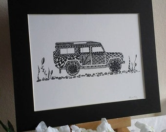 Jeep illustration,land rover picture,4 x 4 illustration,land rover picture,land rover art print,gifts for men,black and white art,