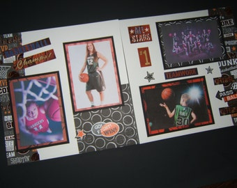 Basketball Scrapbook Pages - Premade Basketball Layouts - 12 by 12 Premade Basketball Pages - Basketball Scrapbook Layouts - Sports Pages