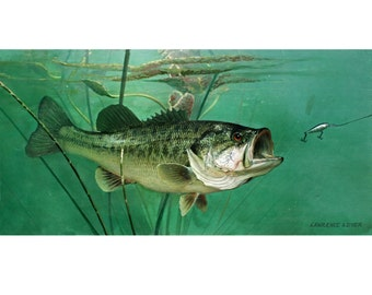 Largemouth Bass Giclee Art Print Canvas from original painting by Lawrence Dyer Wildlife Marine Art Trophy Bass Fish Commissions Available