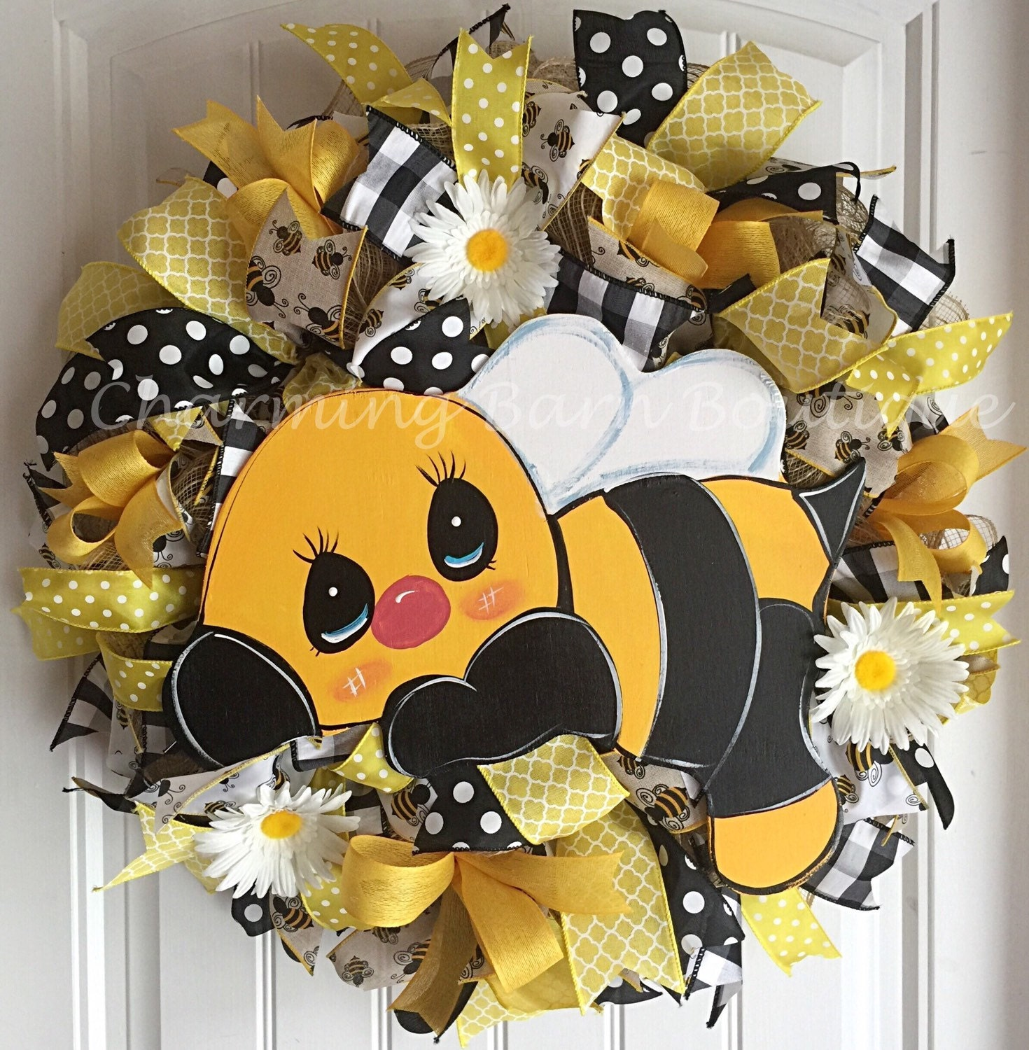 Spring wreath summer wreath bee wreath bumblebee wreath for Artificial bees for decoration