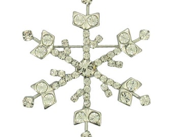 Crystalized Winter Snowflake Christmas Glitter Swarovski Crystal Vintage Inspired Gift Brooch Pin P5296