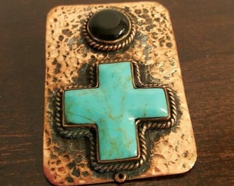 Copper Pendant/ Blue Turquoise Copper Pendant/ Black Onyx Copper Pendant