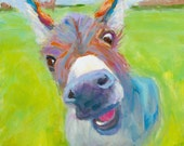 """Adorable Donkey art card """"Hello There"""""""