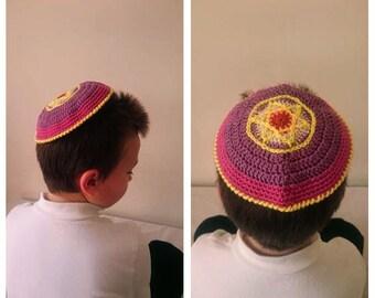STAR OF DAVID Crochet kippot kippah yarmulke scullcap  cupple Purple Jewish Judaism