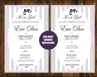 Pink, Gray and White Striped Bow Baby Girl Personalized Baby Shower Invitation