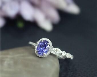 Real VS Tanzanite Ring Set! Ova Gem Engagement Ring Set Diamond Accent Solid 14K White Gold Ring Set Wedding Ring Set Bridal Set