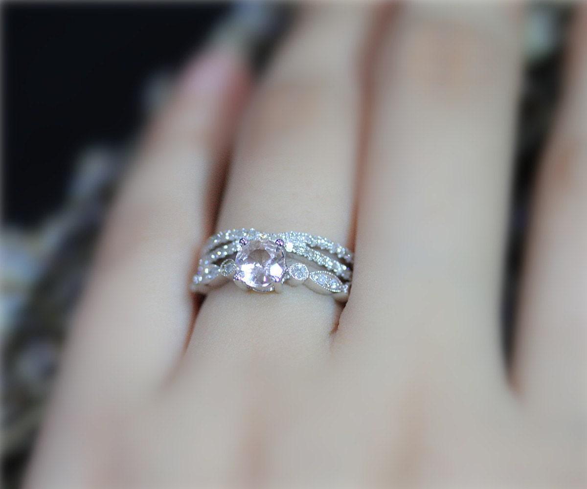 real pink morganite ring set round gem ring set diamond accent solid 14k white gold ring - Morganite Wedding Rings